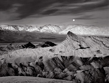 Moon Over Zabriskie Point, black and white photograph by Radeka